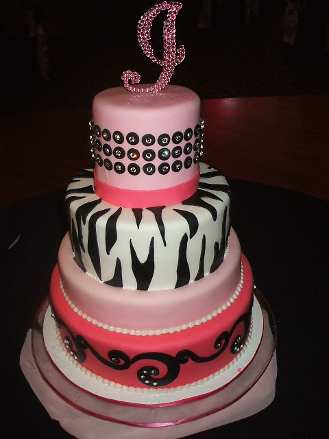 Awesome Pink And Zebra Print Wedding Cake