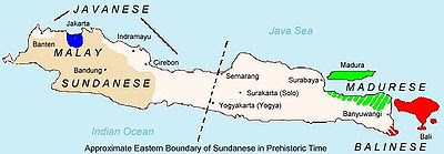 Languages spoken in Java (Javanese is shown in white).