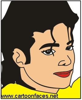cute cartoon face of michael jackson