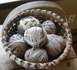 Antique basket with yarn