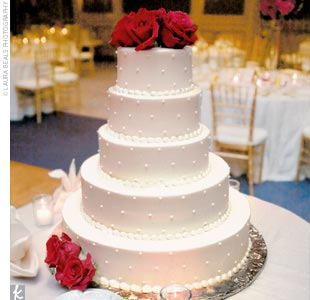 Five Tier Round Red Roses Wedding Cake