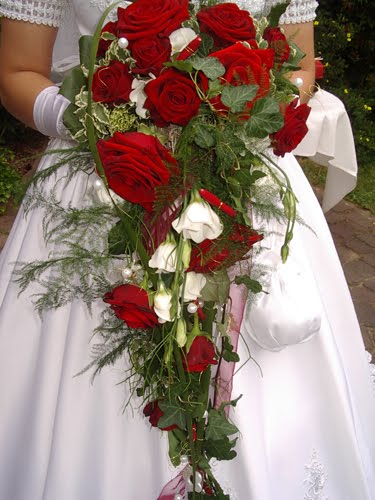 Simple wedding bouquet with red and white roses