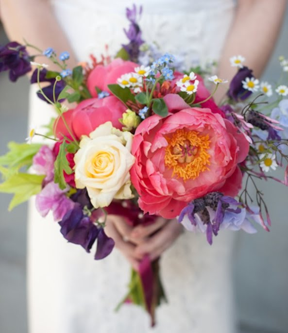Multi Colored Pastel Wedding Bouquet
