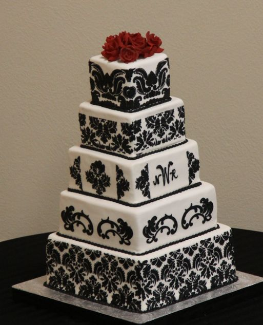 Pure Elegance Five Tier Damask Pattern Wedding Cake With Red Roses On The Top