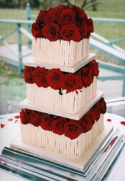 White Cigarillo Wedding Cake Red Roses. Gorgeous three tier white cigarillo
