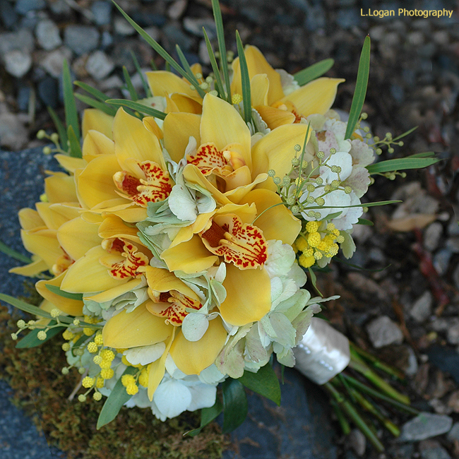 Yellow flowers at wedding : Bouquet bridal yellow orchid bouquets