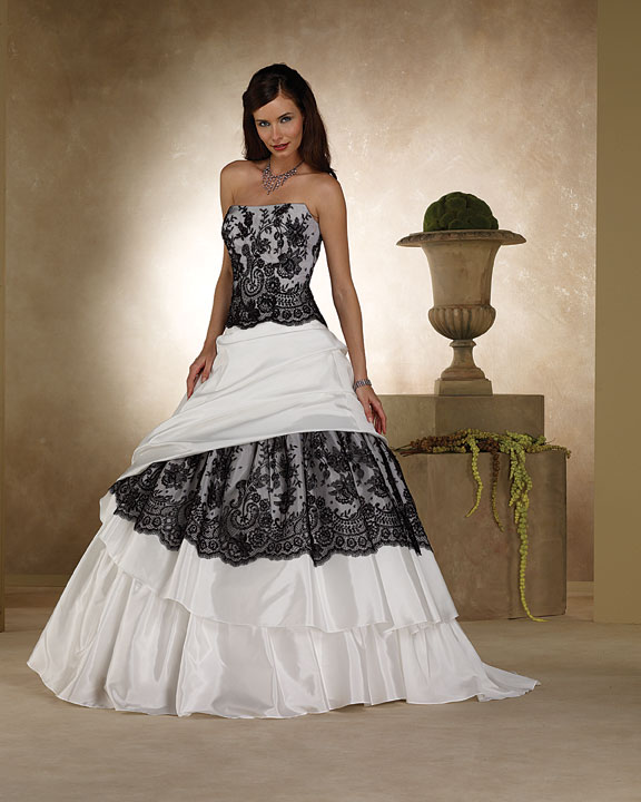 Black and White Lace Wedding Dress Strapless Aline gown with beaded lace