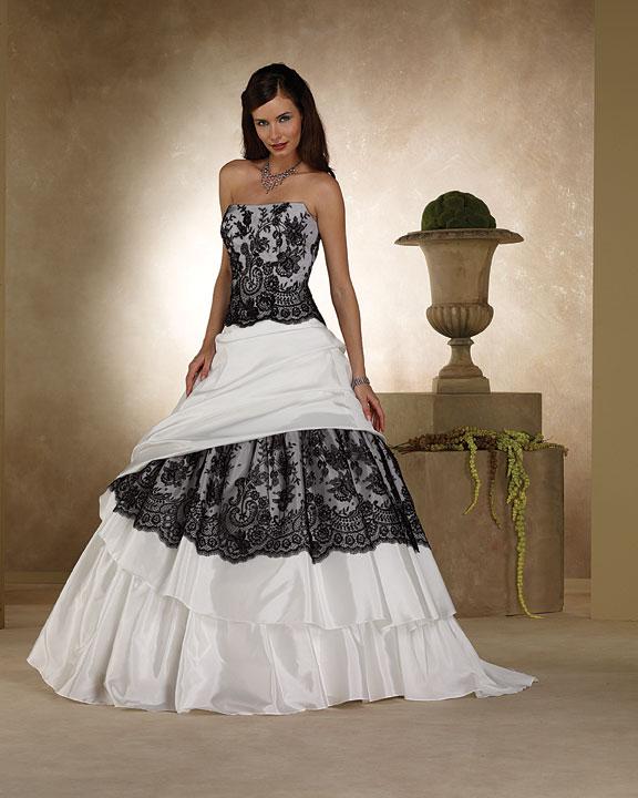 I heart wedding dress black and white lace wedding dress for White wedding dress black lace