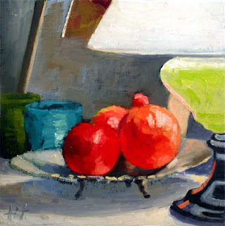 Fruit on Silver Plate by Liza Hirst