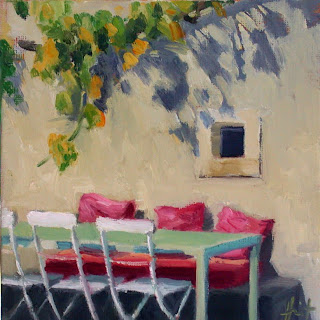 Red Cushions by Liza Hirst