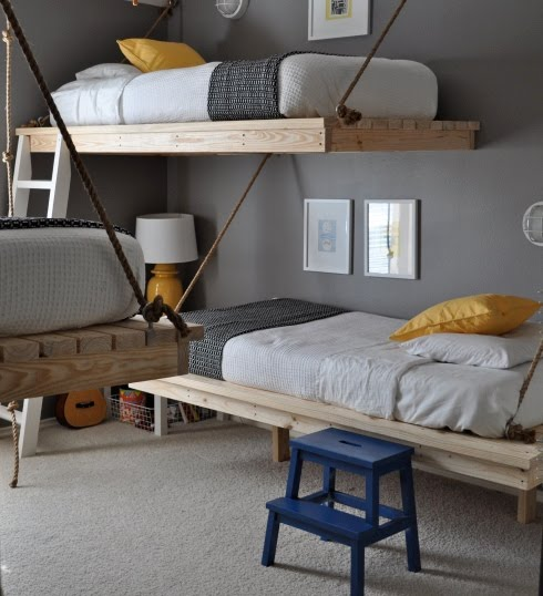 High desert design council hanging bunk beds for Floating bed designs