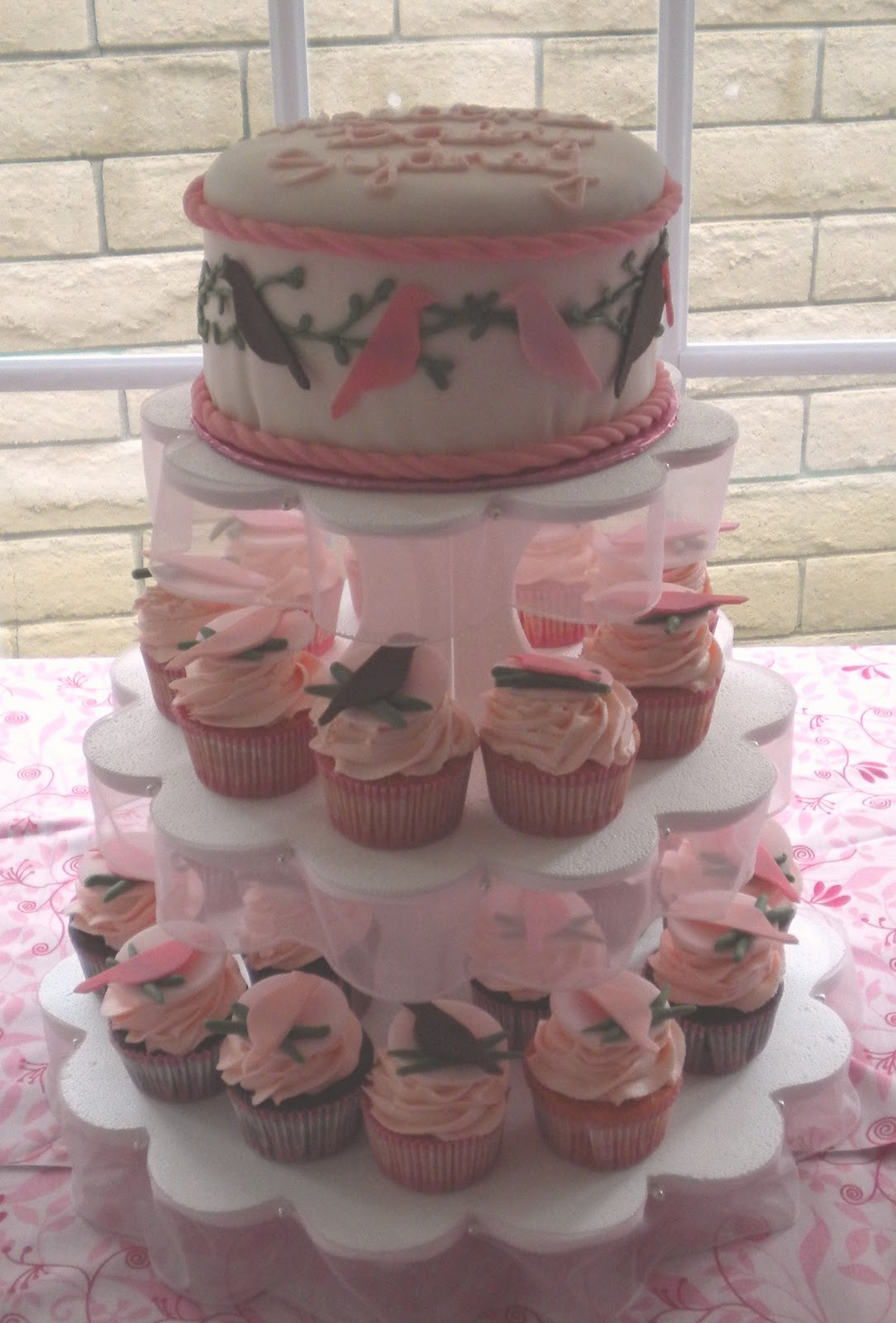 The Cupcakes Are Chocolate And White Cake (colored Pink). The Topper Is 5  Layers Of Chocolate, White And Red Velvet With Pink Vanilla Icing, ...
