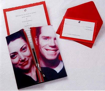red photo theme wedding invitations