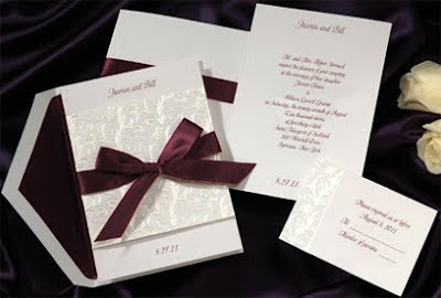 Elegant White Wedding Invitations With Red Purple Ribbon