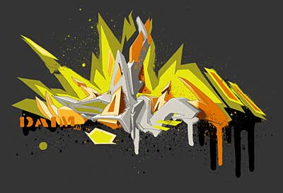 yellow 3d graffiti