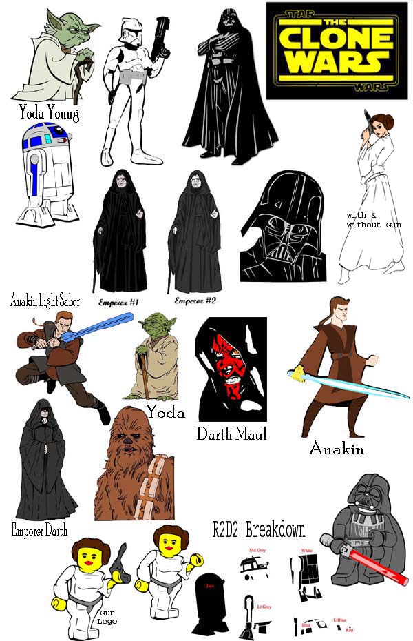 Star Wars and Clone Wars files. I have added Princess Leia-with a gun
