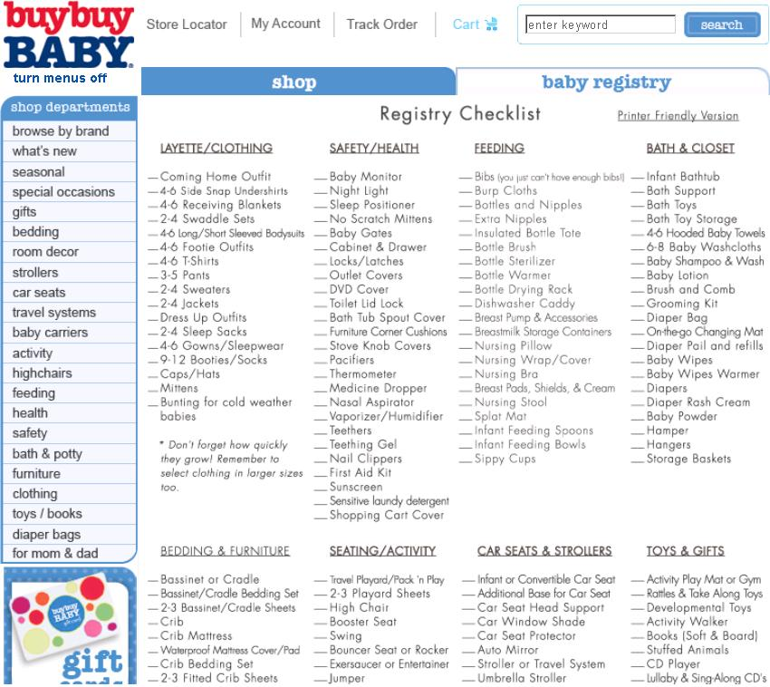 Buy Buy Baby Registry Checklist At Buybuybaby.Com | Letmeget.Com