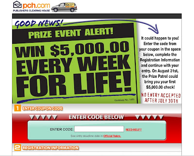 PCH Sweepstakes Entry Form