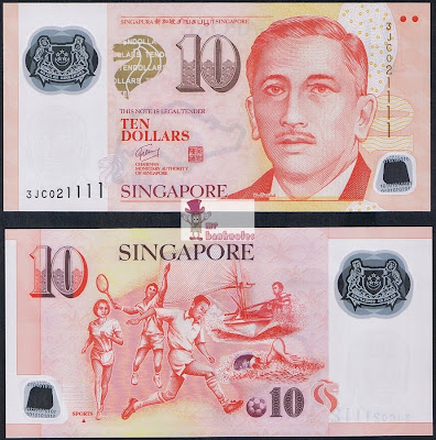 Singapore 10 Dollars banknote 1 triangle variety