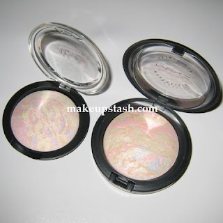 MAC Mineralize Skinfinish in Lightscapade vs Etude Marbleade Baked Blush in #3