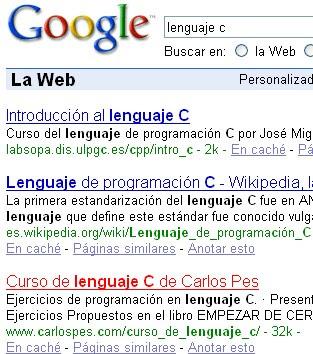 Búsqueda de -lenguaje C- en Google