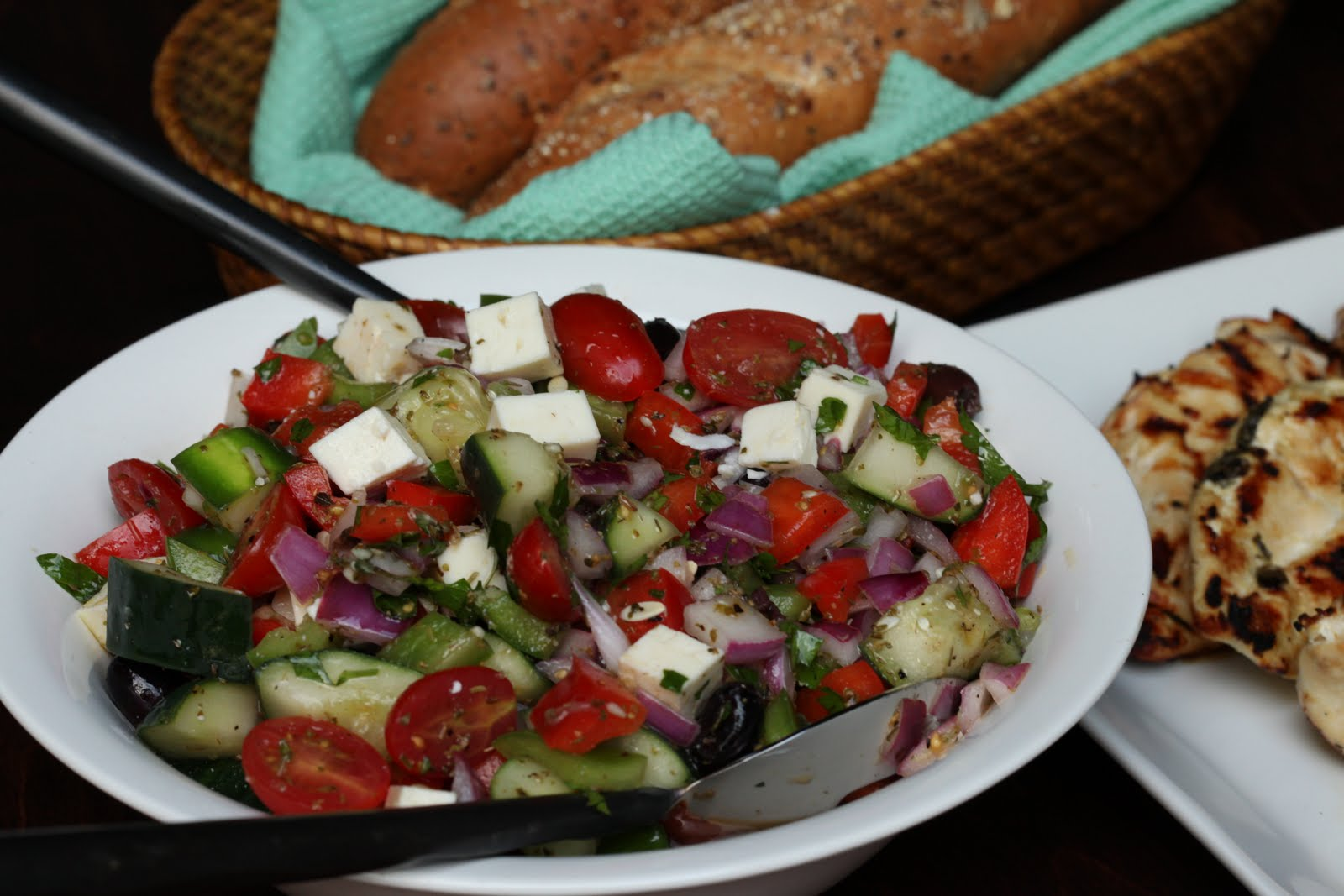 Bo's Bowl: Grilled Chicken with Chopped Greek Salad
