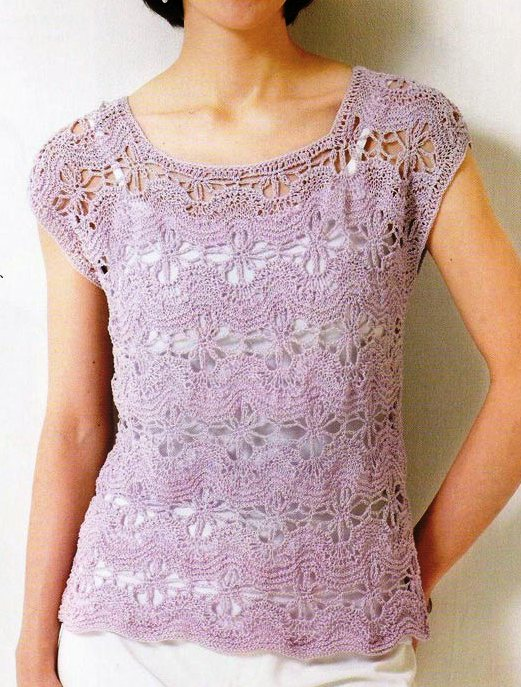 Beginner Crochet Top Patterns Free : Free Knitting Patterns: Lavender top crochet and knitting