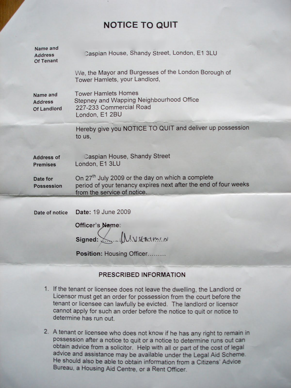 17 awesome lodger eviction letter template uk images complete squat potato june 2009 spiritdancerdesigns Image collections