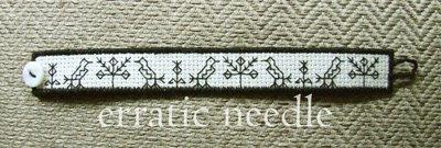 embroidery; bracelet; pulseira;blackwork;handmade