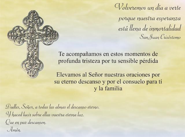Tarjeta De Pesame Y Condolencias