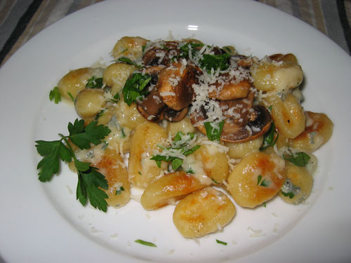 Gorgonzola Sauce on Gnocchi topped with Fried Mushrooms