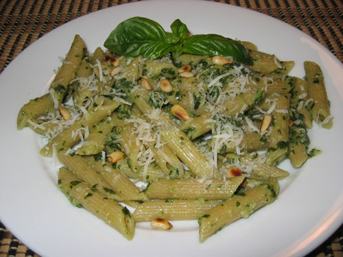 Basil Pesto on Penne on Closet Cooking