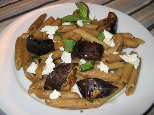 Penne with Oven Roasted Eggplant, Goats Cheese and Mint on Closet ...