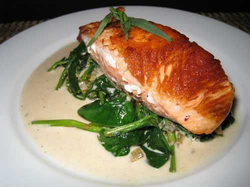 Pan Seared Salmon on Spinach in Tarragon Sauce on Closet Cooking