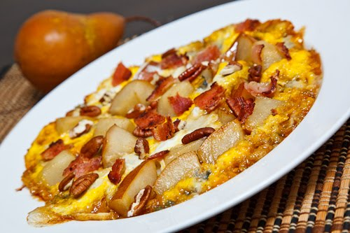 Caramelized Pear and Gorgonzola Omelette with Bacon and Pecans
