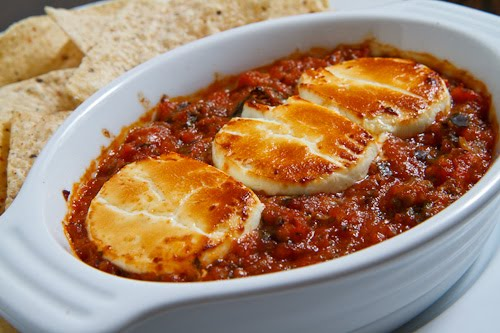 Baked Goat Cheese Salsa with Tortilla Chips
