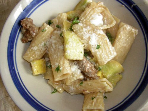 Creamy Goat Cheese Pasta with Zucchini and Sausage