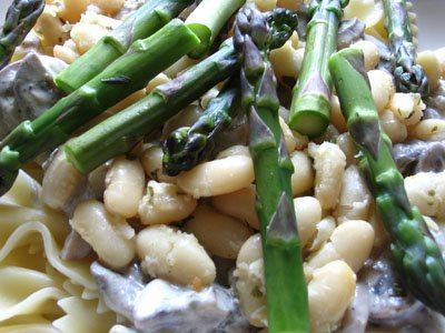 Farfalle Pasta with Cannellini Beans and Asparagus in a White Mushroom Yogurt Sauce