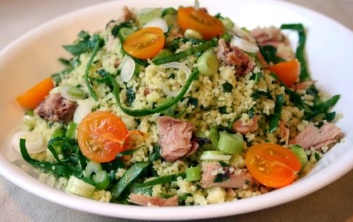 Couscous Salad With Spinach And Lemon Thyme Dressing