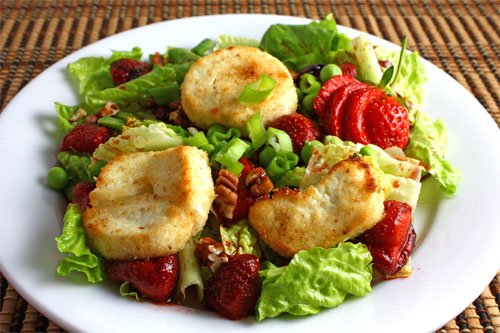 Roasted Strawberry Salad with Baked Goat Cheese on Closet Cooking