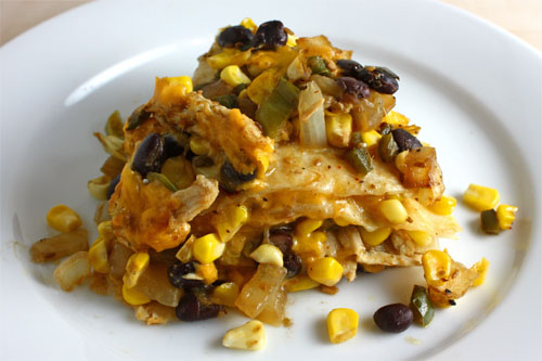 Corn and Black Bean Tortilla Pie - Slice