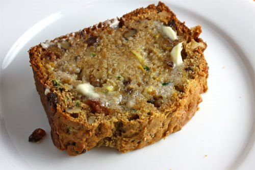 Zucchini Bread, Buttered Slice