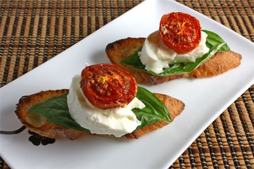 Burrata Crostini with Roasted Tomatoes