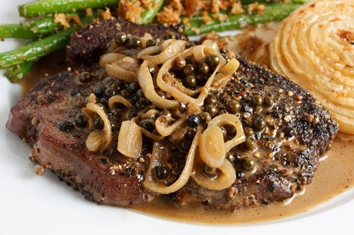 Steak Tenderloin in a Green Peppercorn Sauce