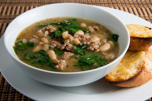 Spinach, White Bean and Turkey Sausage Soup on Closet Cooking