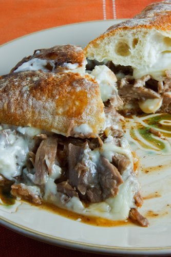 Pot Roast Sandwich Smothered in Gravy with Melted Swiss Cheese and Horseradish Mayonnaise