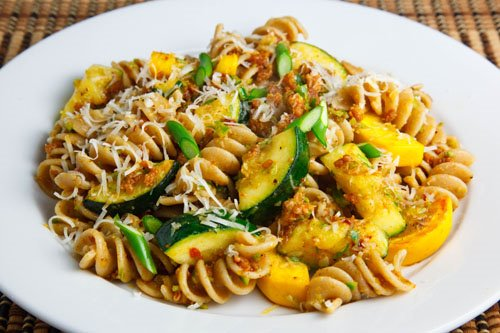 Italian Sausage, Zucchini and Garlic Scape Pasta