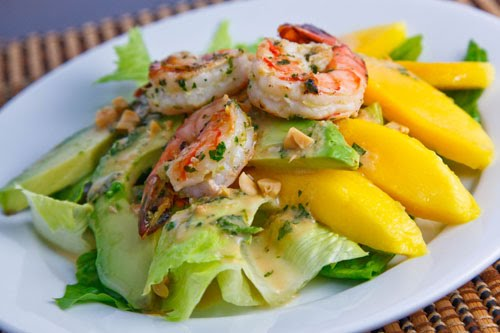 Mango Avocado And Grilled Shrimp Salad With A Peanut Dressing