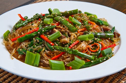Asparagus and Mushroom Japchae