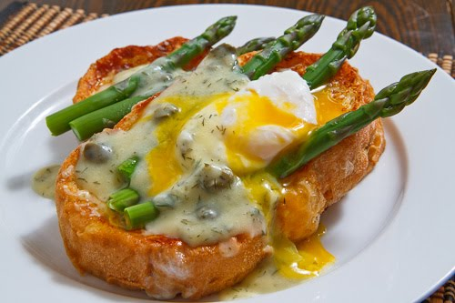 Parmigiano Reggiano Savoury French Toast with Asparagus and a Poached Egg Smothered in a Dill and Caper Avgolemono Sauce